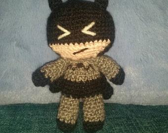 "Crochet batman mite 6"" sci-fi geek retro vegan amigurumi handmade DC crochet comic bruce Wayne"