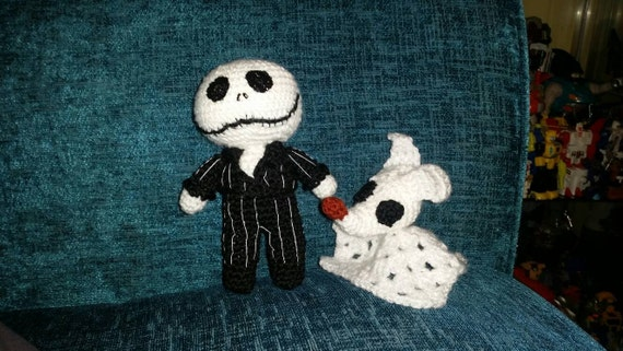 crochet halloween style dolls jack & zero skeleton skellington