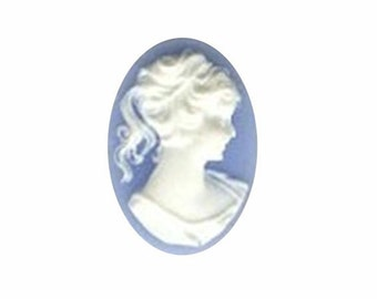 Cabochon 25x18 Blue white cameo Ponytail Girl resin Cameo cameo jewelry supply jewelry findings pastel gothic 46R