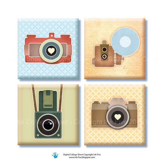 Vinatage Photo Cameras 1 inch squares printable digital images for pendants, magnets, scrapbooks. Digital download. Retro style printables