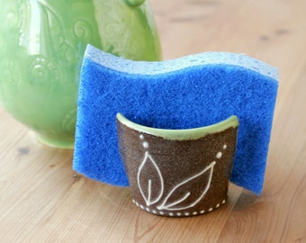 Sponge Holder in Chocolate & Kiwi, Iced Gingerbread Collection,  Kitchen Decor, Wheel Thrown Pottery, Giselle No. 5 Ceramics