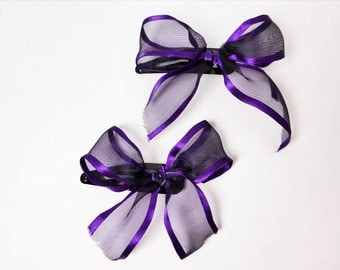 Chiffon and Purple Trim Ribbon Bow Barrettes