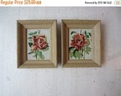 ON SALE Pair Vintage Rose Paint By Number Paintings - Shabby Chic