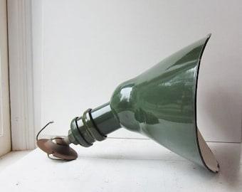 ON SALE Vintage Industrial Sign Light - Green Porcelain Enamel Wall Light