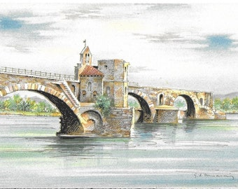 Vintage Unused Illustrated French Postcard - Avignon