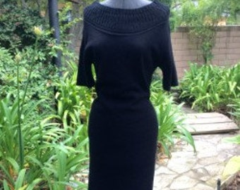 1960's Mad Men Style Knit Black Dress
