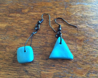 Turquoise Square Triangle Earrings