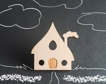 House Jewelry, House Pin, Wood Laser Cut Jewelry, Tiny House Brooch, Cute Pins, Whimsical Jewelry