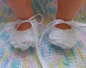 Chenille Baby Booties with ribbon ties - 0 to 3 months