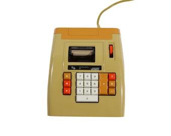 Montgomery Ward Adding Machine- 1970's Calculator - Working Condition - Bright Orange and Gold