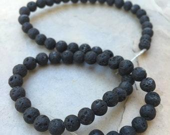 Lava Beads, Round Lava Beads, 6mm, 15 inch