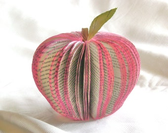 Medium apple book page paper fruit teacher librarian recycled set