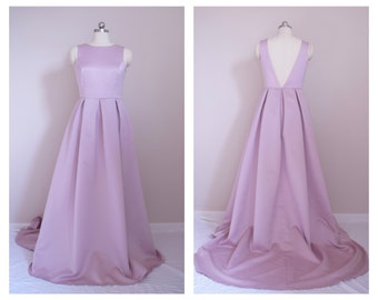 Low Back Bridesmaid Dress in Duchess Satin - other colors and custom size