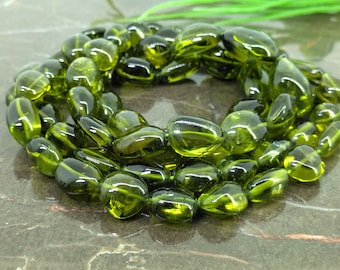 Rare Olive Green Natural Peridot 10-19mm Smooth Nuggets Gemstone Beads / Approx 35 pieces on 14 Inch long strand / JBC-ET-148513