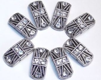 Eight 2 Hole Slider Beads 2 Hole Spacer Beads Ornate Clear Crystal Rhinestone Studded Silver Tone Double Strand Beads