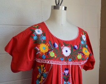 1970s Mexican Dress Embroidered Dress Red Cotton Boho Dress with Floral Embroidery All by Hand Size Small to Medium