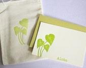 Kalo Taro Hawaiian Letterpress Cards with Muslin Sack Aloha Mahalo