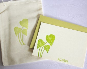 Kalo Taro Hawaiian Letterpress Cards with Muslin Sack Aloha Mahalo