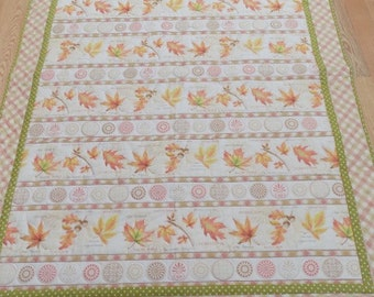 Fall Leaves lap quilt, peach colors, autumn