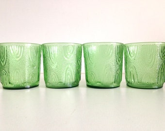 Retro Textured Green Glasses - Set of 4