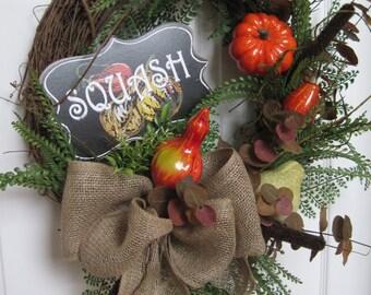 Country Autumn Wreath, Garden Harvest Wreath, Pumpkins, Squash, Fall Wreath, Front Door Wreath, Squash Garden Stake, Grapevine Wreath