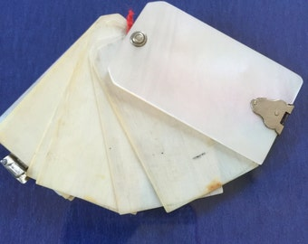 Fan Shaped Miniature Dance Card / Aide Memoire/ French.....C1900-1920..Shell... Mother of Pearl