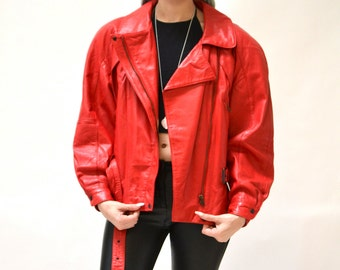 Vintage Leather Motorcycle Jacket RED by Michael Hoban// Vintage Leather Biker Jacket Red Small Medium