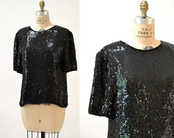 Vintage Black Sequin Shirt with Size Large// Vintage Sequin Shirt size Large