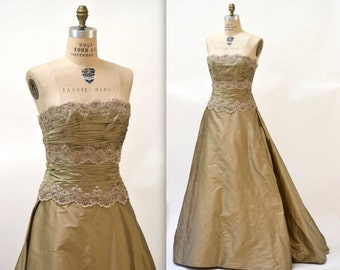 Vintage Evening Gown Size Medium Metallic Silk By Chris Kole Couture// 90s Vintage Dress Evening Gown Gold Silk Ball Gown Strapless Dress