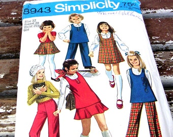 Vintage Simplicity Pattern 8943 Girls Jumper Tunic sz 12 Chest 30