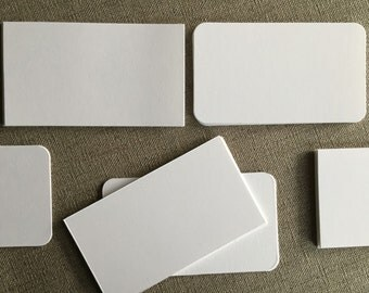 """25 Size 2"""" x 3 1/2"""" White Blank Cards--Cut Cardstock--For Place Cards--Name Cards--Tags--Business Cards - Square or Round Corners"""