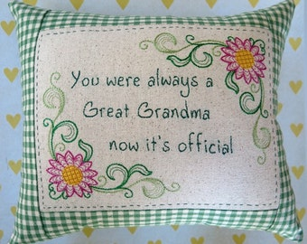 Great Grandma Embroidered Pillow