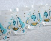 Vintage Frosted Glass Barware Set of 4, Turquoise Blue Shot Glass Set,Mid Century George Briard Shooter Glasses SwirlingOrange11