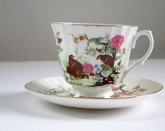 Tea Cup and Saucer, Vintage Cup and Saucer, Birds Pink Flowers, Bone China Teacup Set, Pink Dahlias Tea Cup and Saucer Set  SwirlingOrange11