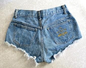 Denim Short Shorts with Frayed Hems, Vintage Clothing, New Never Worn Vintage Dungaree Short Shorts, Fitness Model Shorts, Spring Break
