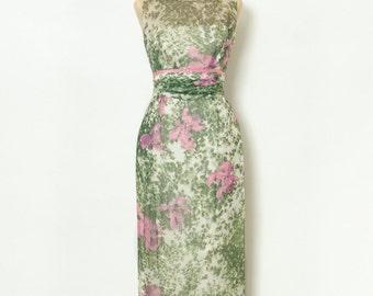 Vintage Dress / 60s Dress / 50s Dress / Women's clothing / Maxi 60s dress / Party Dress /  Mad men / Party / Gown / wiggle dress / maxi