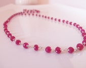 Ruby Natural Gemstone Handmade Long Necklace Wire Wrapped with Sterling Silver Jewelry