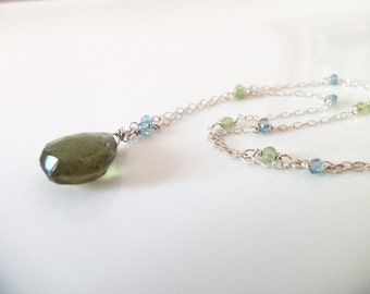 Mossy Aquamarine Gemstone Wire Wrapped Handmade Necklace on Sterling Silver with London Blue Topaz