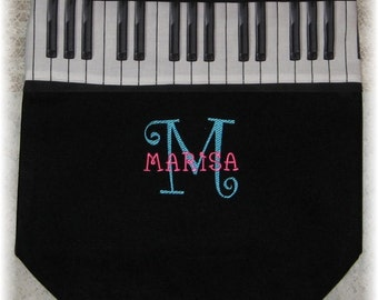 Personalized piano music lesson book bag black canvas embroidered kids recital birthday student back to school gift idea