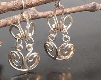 Statement Earrings Hand Forged Silver by JeanineDesigns
