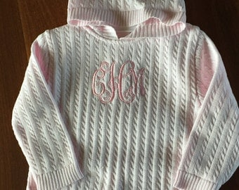 PINK Cable Knit ZIP BACK hooded sweater