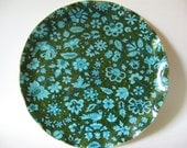 Unique FAB product ruffled edge plastic coated vintage fabric tray blue green bird floral Canada