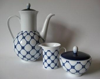 Melitta Germany teapot sugar and creamer coffee service set of three mid century danish modern blue white ceramic