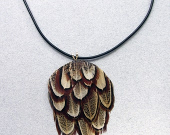 Natural Brown Ringneck Pheasant Feather Necklace