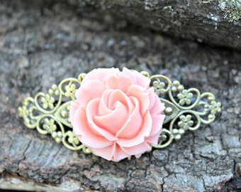 Shabby Chic Soft Pink Rose Barrette - Hair Clip