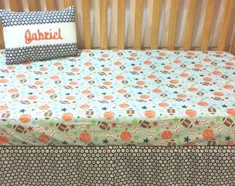 Sports Toddler Bedding,  Baby Boy, Crib Bedding Set,  Play Ball Riley Blake, Crib Bedding, Crib Skirt, Crib Sheet, Bumper Pads, Sheet, Case