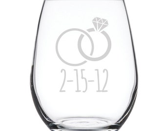 Personalized Stemless White Wine Glass-17 oz.-7894 Wedding Rings with dates personalized