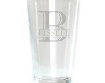 Personalized Pub Glass - 16oz - 8601 Monogram with Name thru Initial
