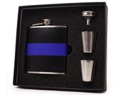 Thin blue line flask gift set // Personalized flask for men and women