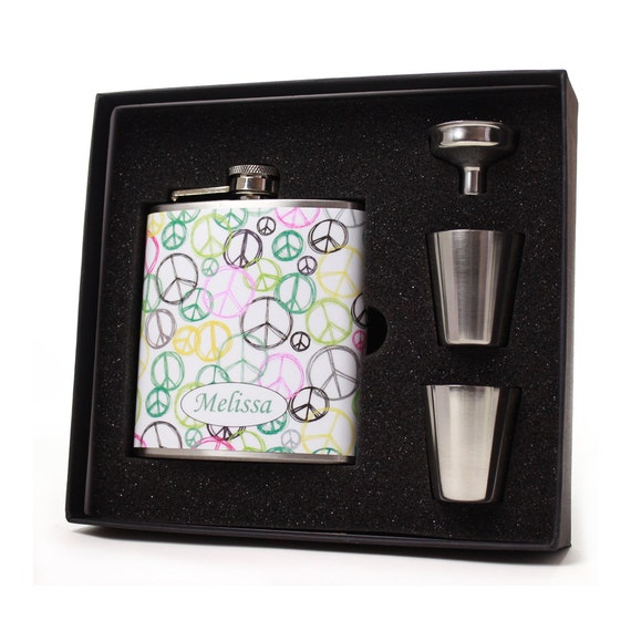 Peace Signs Personalized Hip Flask